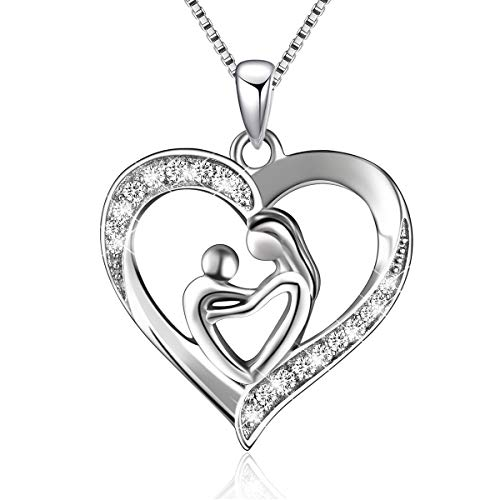 Silver Mother and Child Love Heart Pendant Necklace Product Image