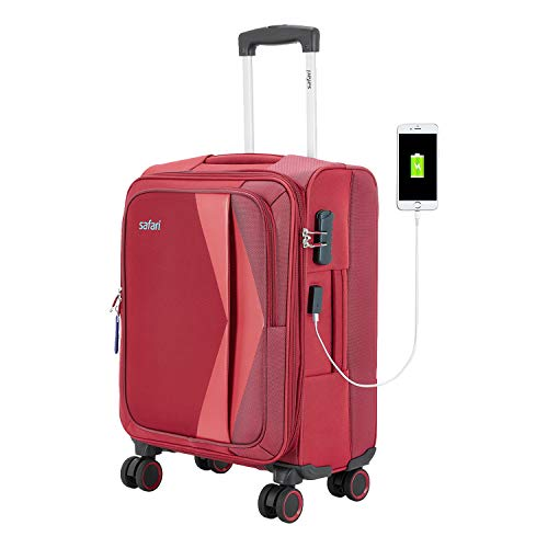 Safari Rapid Polyester Soft Sided Cabin Luggage (4W 57 cm Red)