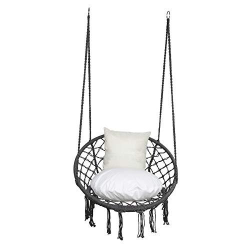 BMOT Hängesessel mit Kissen im Rücken und Sitzpolster – Indoor Hängekorb 150 kg Belastbarkeit für Kinder & Erwachsene – Einfache Aufhängung - Anthrazit