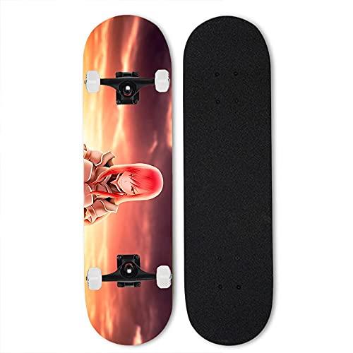 Totots Skateboard de Arce para Cuento DE Hadas: Erza Scarlet, Doble Tilt Skateboard, patineta de Cuatro Ruedas de Anime, monopatín Completo, patineta Exterior de Longboard, Mejor Regalo