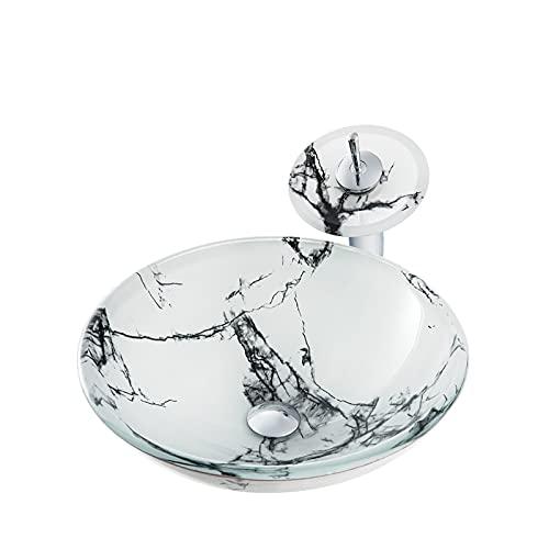 SHUGUANG Lavabo de Vidrio Templado, Lavabo Cristal Templado Ronda Lavamanos Cristal Baño, Lavabo sobre Encimera para Baño con Grifo, Anillo de Montaje, Drenaje de Agua, 420×420×145mm,Blanco