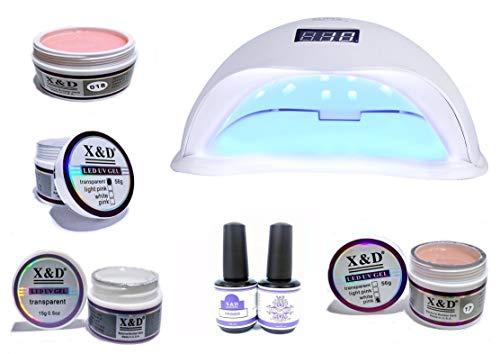 Kit 4 Gel Xed Primer Top Coat Unhas Gel Cabine Sun5 48w Led Cor da cabine:branco;quantidade gel:4 unidades de 15gr;volta
