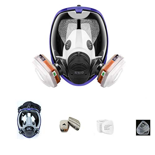 17in1 Full face Respirator Protective Respirator Rubber 360 Full Seal Protection (Respirator +Canister) Widely Used in Organic Gas