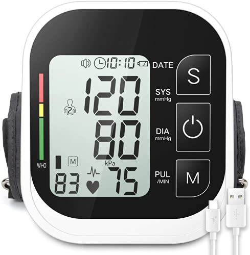 BINMA Blood Pressure Monitor Automatic Upper Arm Machine Digital BP Cuff Kit with Large LCD Display 2x99 Memory Sets Smart Voice Broadcast Support Charging Supply (8.7-16.5inch)-BM877