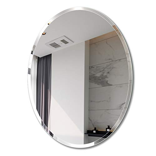 "Large Simple Oval Wall Mirror | Frameless Beveled Decor Vanity Mirror | Best for Make up Bedroom Living Room or Bathroom (17.7""x23.6"",19.7""x27.6"", 23.6""x31.5"")"