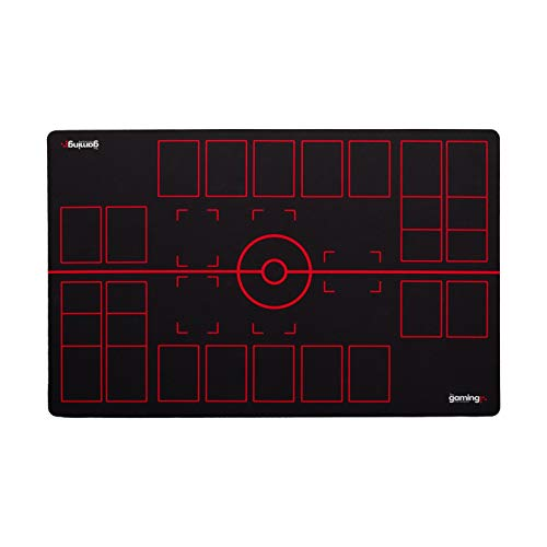 GMC Deluxe 2 Player Compatible Black Red Pokemon Stadium Mat Board Playmat