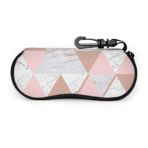 AOOEDM Estuche de almacenamiento para gafas de seguridad, cremallera reforzada, mármol gris oro rosa