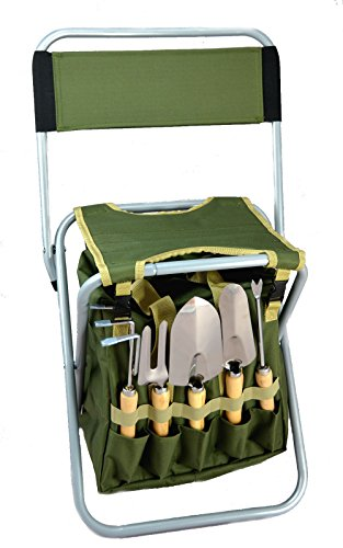 10-Piece Gardening Tool Set with Zippered Detachable Tote and Folding Stool Seat with Backrest