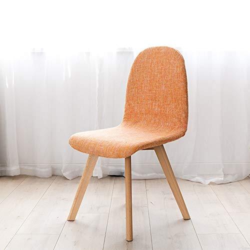 THMJIE Startseite Stuhl Stoff Kaffee Hocker Esszimmerstuhl moderner einfacher Schreibtischstuhl Rückenlehne Europäischen Stuhl Hocker Einzel Stuhl aus Holz (Color : Orange)