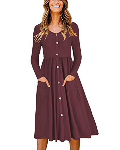 OUGES Women's Long Sleeve V Neck Button Down Midi Skater Dress with Pockets(Red,XXL)