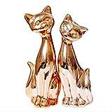 WWZYX Decoracion Modernos Decoración del Hogar,8.3 '' Figuras de Gato de cerámica chapada en Oro 2pcs / Set Adorno de Gatos de Oro Rosa Estatua de Modelo Animal