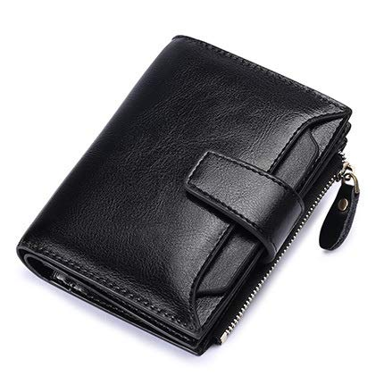 Yi-xir Bolso favorito para mujer, cartera de piel de vaca, cartera baja con cremallera corta, monedero para mujer, monedero para tarjetas, cartera diagonal (color: negro, tamaño: A)