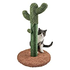 Wrapped sisal scratch post promotes satisfying scratches and healthy cat nails. Cactus shape adds a pop of fun to any home. Moppy fabric plush material on top and base for cats to rub and nuzzle. Stable base to support kitty playtime. Easy to assembl...