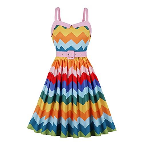 Wellwits Vestido vintage de los años 50 con estampado de rayas en zigzag Chevron