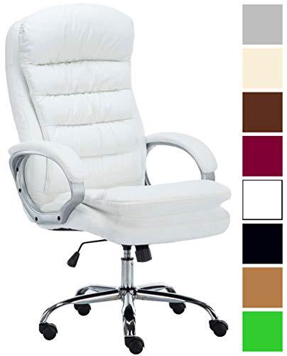 XXL Bürostuhl Vancouver Mit Kunstlederbezug I Drehstuhl Mit max. 235 KG Belastbarkeit I Chefsessel Mit Laufrollen, Farbe:weiß