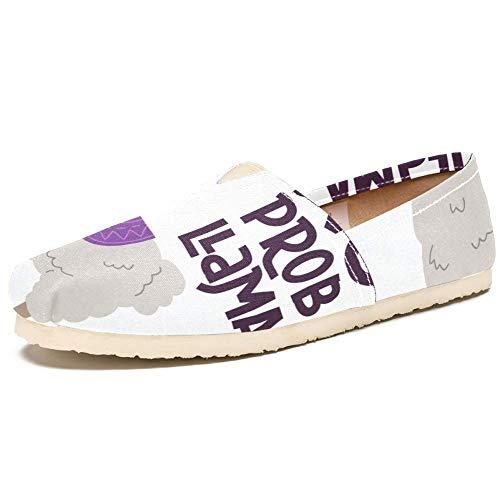 TIZORAX Slipper Schuhe für Damen Lama mit Brille Schriftzug Zitat Bequem Casual Canvas Flache Bootsschuh, Größe 36, Mehrfarbig - mehrfarbig - Größe: 39 EU