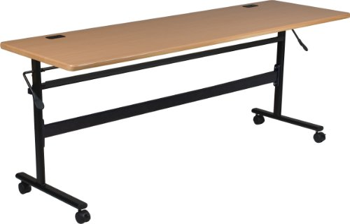MooreCo Essentials Flipper Training Table 72x24 Teak Top Black Base