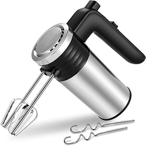 BURNNOVE Handmixer Edelstahl 500W Handrührer mit 2 Schneebesen und 2 Knethaken aus Edelstahl Handrührer mit 5 Geschwindigkeiten zum Schlagen von Eimilch und Teig