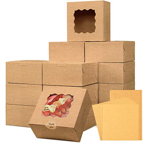 Moretoes 24pcs 6x6x3in Brown Bakery Boxes Pastry Boxes Cookie Boxes Mini Cake Boxes with Window Included Parchment Paper and Stickers