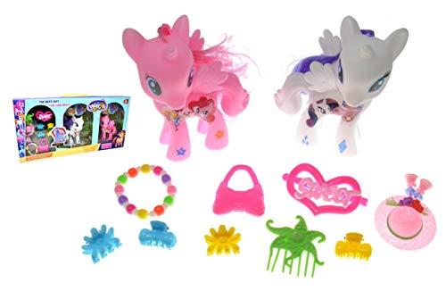 VENTURA TRADING 2 Unicornios Vestirse Conjunto de muñecas Ponis Juego Muñeca Pony Juguete para niñas Set de Caballos Unicornios Mágicos