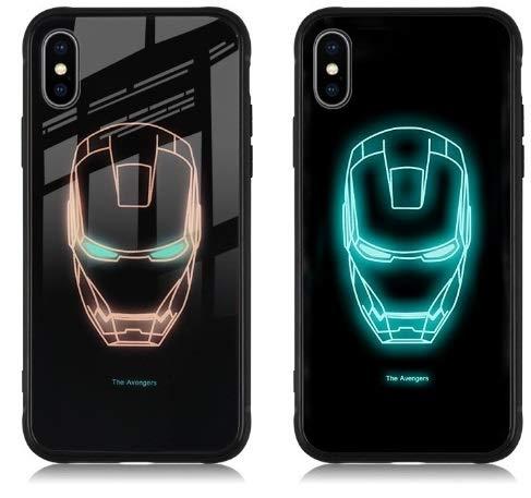 Ironman Marvel Avengers Coque de protection lumineuse pour iPhone X XS Motif lumière nocturne