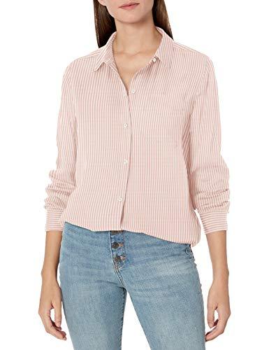Amazon Brand - Goodthreads Women's Modal Twill Long-Sleeve Oversized Boyfriend Shirt, Pink/White Stripe, X-Large