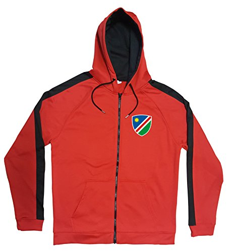 Namibia Jacke Sweater Rot JA GO Namibia Trikot Look Zip Nation Fussball Sport (XL)