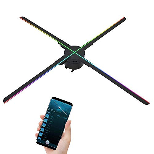 GIWOX 2019 25.6 Inch 3D Hologram Fan Display 65S with Powerful APP,Trade Show Display 1080P HD and 724Pcs Led Beads,Four-Axil and High Transfer Speed,Upload by iOS and Android 3D Holographic Fan