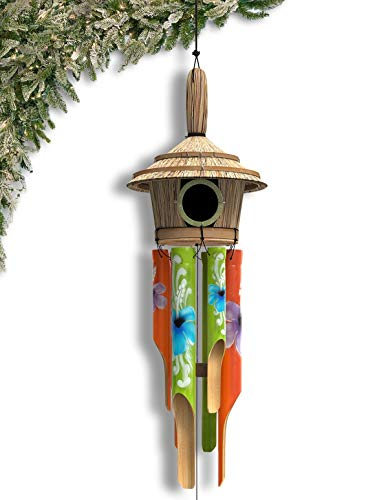 Nalulu House Wind Chime - Bamboo Wooden Wood Painted Outdoor & Relaxation Ready