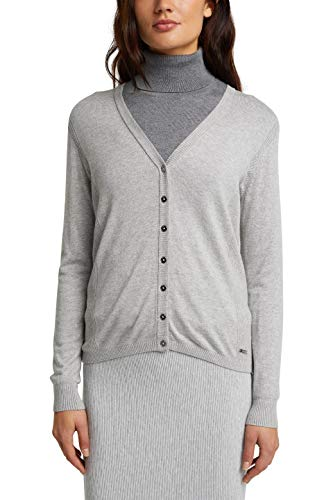 ESPRIT Damen 990EE1I302 Strickjacke, 044/LIGHT Grey 5, XL