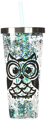 Spoontiques Blue Owl Glitter Cup With Straw, 20 ounces, Turquoise