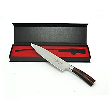 Platinum Professional Gyutou 8 Inch Chef's Knife, High Carbon Stainless Steel ,Sharp Cutlery, Ergonomic Handle , Slicing Knife , dicing, chopping, and mincing of fruits, vegetables, meats and fish