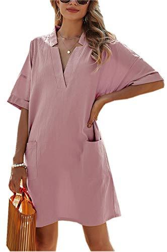 Damen Sommerkleid V-Ausschnitt Strandkleid Kurzarm Minikleid mit Taschen Freizeitkleid Lose Einfarbig A Linie Knielang T-Shirt Kleider Bikini Cover Up