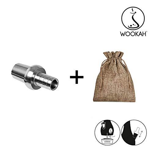 WOOKAH Conector - Adaptador de Manguera (cachimba, Shisha, Pipa de Agua) + Bolsa de Tela con Aspecto de Yute