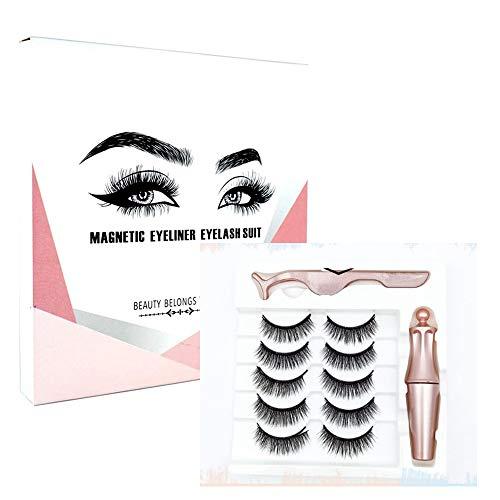 2 set / 10 paires de cils magnétiques sans colle imperméable magnétique noir Eyeliner 3D réutilisable faux cils Kit (828)