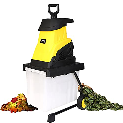 Trituradora Trituradora de Madera, Doble Protección, Trituradora de Ramas de Árboles de Jardín de 2500W, con Ruedas y Caja de Recolección de Migajas de 45L,30m