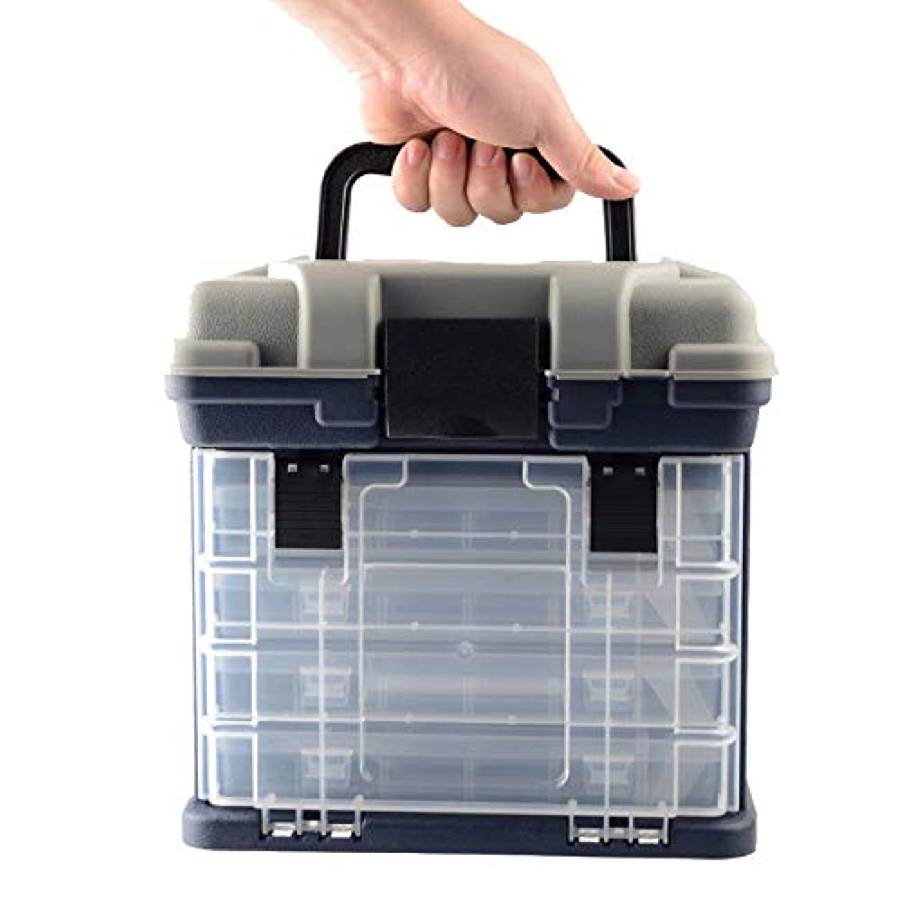 前貯水池と遊ぶDoolland 大容量 タックルボックス 4段式 釣り用品 収納ボックス プラスチック ルアーボックス フィッシングボックス ランガン ルアーケース 釣り具 ハードボックス トレイ式 取り外し?調節可能な仕切り板付