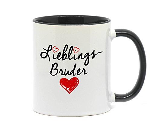 Nice-Presents <> Tasse Lieblings Bruder in hochwertiger Qualität, beidseitig Bedruckt. Eine besondere Art etwas zu Sagen. EIN tolles Geschenk für den Lieblingsbruder z.B. als Dankeschön. (Schwarz)