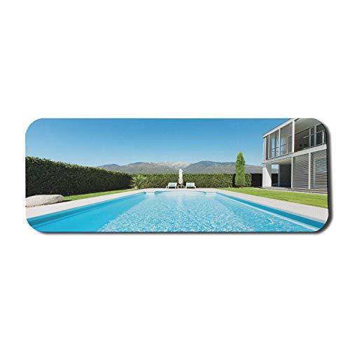 Modernes Computer-Mauspad, moderne Villa mit Blick auf den Pool vom Garten Immobilien Zeitgenössisches Eigentum, rechteckiges rutschfestes Gummi-Mauspad Groß Weiß Blau Blau Grün