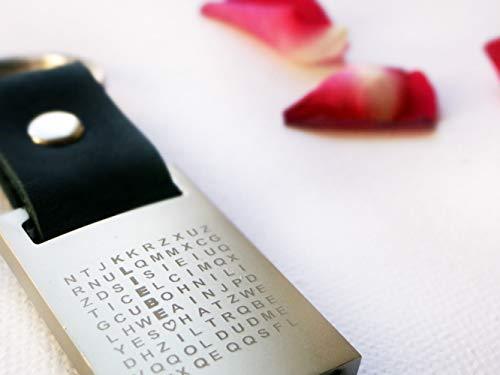 Valentinstag Geschenk Liebe Schlüsselanhänger mit geheimer Botschaft, Rätsel, Geschenk Mann