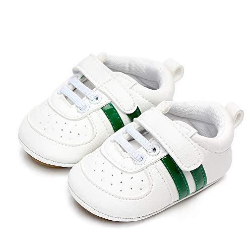 MASOCIO Zapatos Bebe Niño Niña Recién Nacido Primeros Pasos Zapatillas Deportivas Bebé Suela Blanda Antideslizante Blanco Verde 3-6 Meses