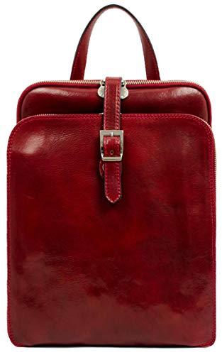 Time Resistance Lederrucksack Wandelbar zu Schultertasche bis zu 12 Zoll Laptops - Rot Tagestasche Reisetasche Rucksack