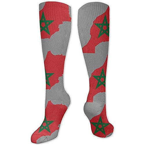 Lange Sokken Marokko Vlag Kaart Boot Casual Atletische Sokken Compressie Sokken Kalf Sokken Sport Buis Sokken Vrouwen Kleurrijke Lange Sokken 50 Cm