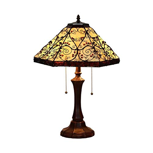 YXX Tiffany Style Table Lamp, Vintage Stained Glass Shade Bedside Lamp, 2 Light, Antique Metal Desk Lamp for Bedroom Living Room Study Reading Light, Night Light for Bedroom, Home Art Deco