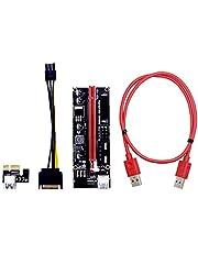PCIE Riser 1X a 16X Gráficos de extensión para la GPU Minería Desarrollado adaptador de tarjeta Riser, USB 3.0 cable 60cm, dos cables 6PIN y fuente de alimentación Cable de Red (Ver 009S, paquete de