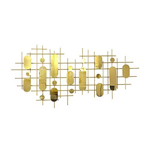 SYue - Pared de metal de hierro forjado con revestimiento de acero inoxidable geométrico abstracto, color dorado para salón