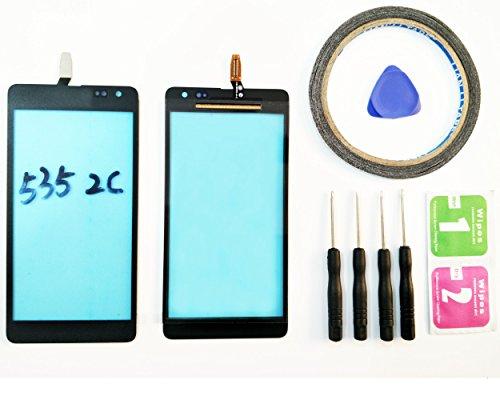 JRLinco Für Microsoft Nokia Lumia 535 N535 2C(Ver: CT2C1607 FPC-A1E) Outer Glas Lens Touch Panel Bildschirm Touchscreen Ersatzteil (Ohne LCD) Für schwarz + Werkzeuge & doppelseitigen Kleber