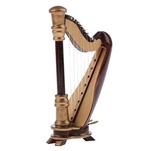 2696; Harp miniatuur; houten decoratief figuur; afmetingen 18x11x5 cm; Gepresenteerd in houten kist