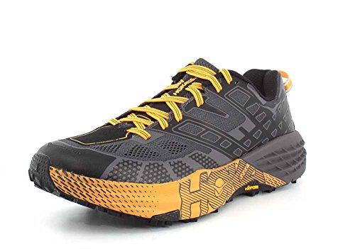 HOKA ONE ONE Speedgoat 2 Trail Running Shoes - Men's Black/True Red 10