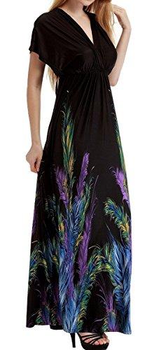 FEOYA Mujer Maxi Vestido Largo Estampado de Plumas Diseño de Alta Cintura Escote V Bohemio Beachdress para Playa Fiesta Verano - Negro - Talla 4XL